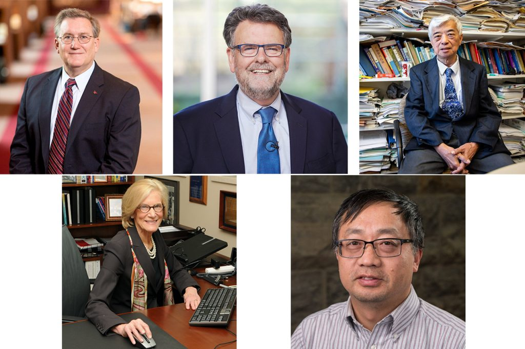 The five Virginia Tech scientists to be named as Fellows of the American Association for the Advancement of Science are (top row, from left) Ronald Fricker, Michael Friedlander, Y.A. Liu, (bottom row, from left) Sharon Landesman Ramey, and Shuhai Xiao.